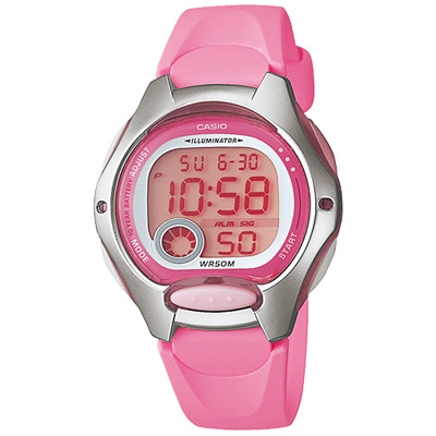 CASIO 超時空玩家電子錶(LW- 200 - 4 B)-粉紅/ 34 . 9 mm
