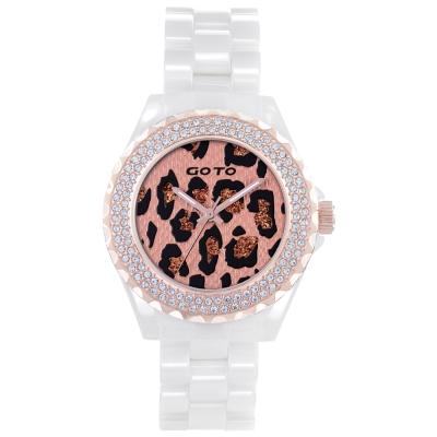 GOTO 精艷豹點潮流時尚陶瓷腕錶-金x白/38mm