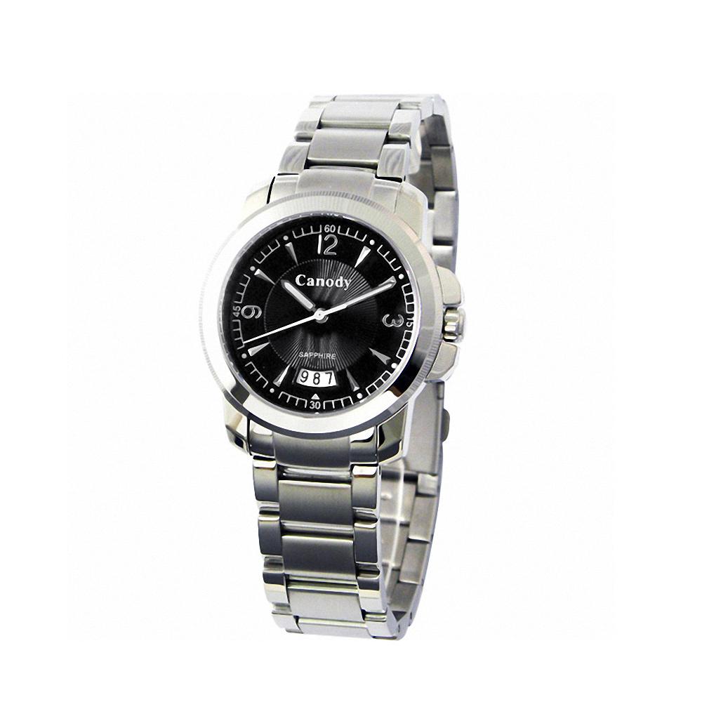 Canody 流轉時光藍寶石鏡面腕錶-黑/大-36mm