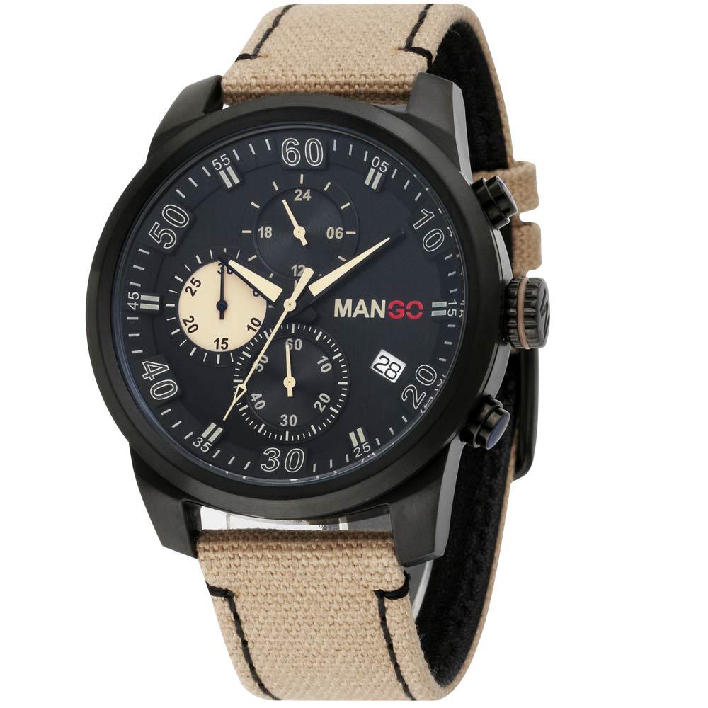 MANGO HOMME 三眼中性時尚不鏽鋼時尚腕錶-黑/45mm