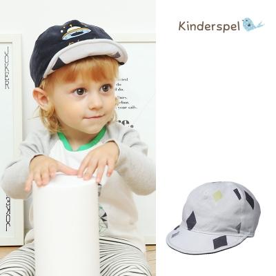 Kinderspel 100%純棉護頭.雙面穿戴鴨舌帽(灰菱格mix深藍)