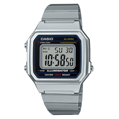 CASIO 復古文青風大型數字數位錶(B-650WD-1)銀色41.2mm