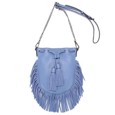 Rebecca Minkoff  FALLE 荔枝紋皮革流蘇束口手機斜背包-天藍色