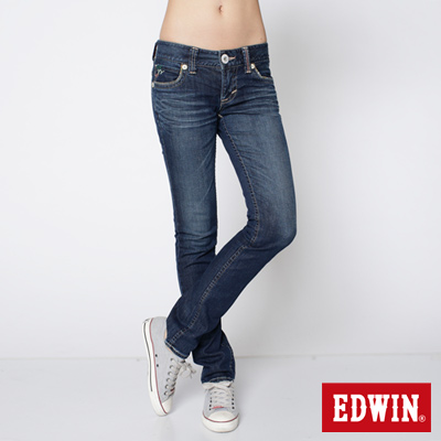 EDWIN 混搭焦點 MISS BT配皮窄直筒牛仔褲-女款(石洗藍)