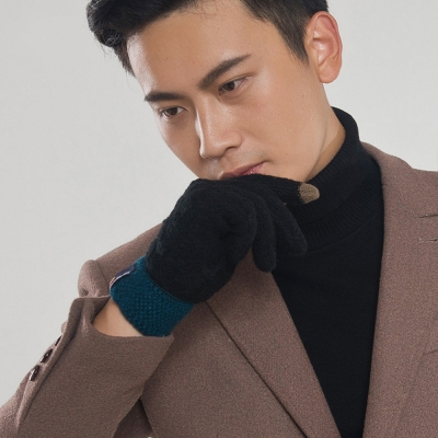 Seoul-Show-男女仿羊絨保暖針織觸控手套-黑色