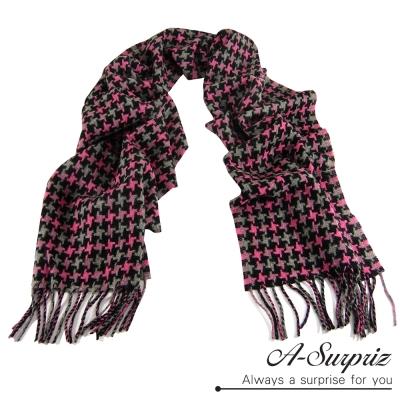 A-Surpriz 經典混色千鳥格紋厚織純羊毛圍巾(桃黑色)