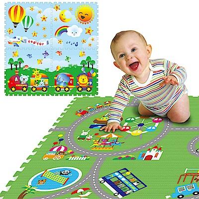 LOG樂格 環保遊戲巧拼墊 -雙面圖案 (動物遊樂園X動物火車) 60X60cmX厚2cm