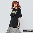 H:CONNECT 韓國品牌 女裝-棉質印字後綁帶洋裝-黑 - 動態show