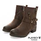 PLAYBOY 率性首選 仿皮超輕量工程靴-棕(女)