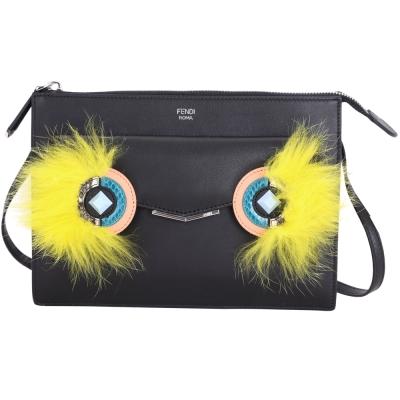 FENDI 2JOURS Bag Bugs 毛怪造型牛皮手拿/斜背包(黑色)