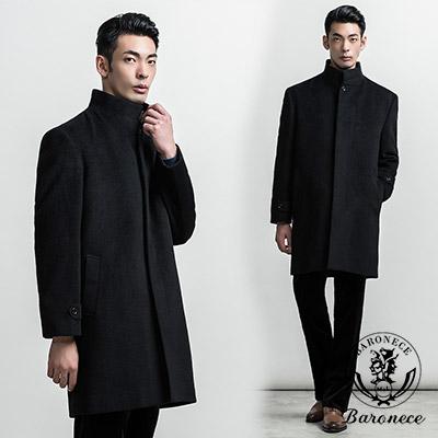 BARONECE 經典紳士長版立領毛料大衣_黑色(411612-15)