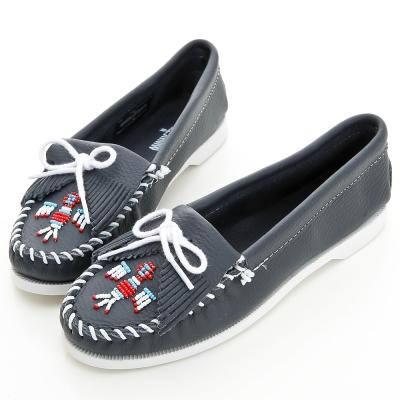 MINNETONKA 海軍藍色雷鳥牛皮莫卡辛女鞋 (展示品)