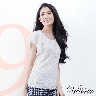 Victoria 蕾絲拼接雪紡拉克蘭短袖T-女-白蕾絲