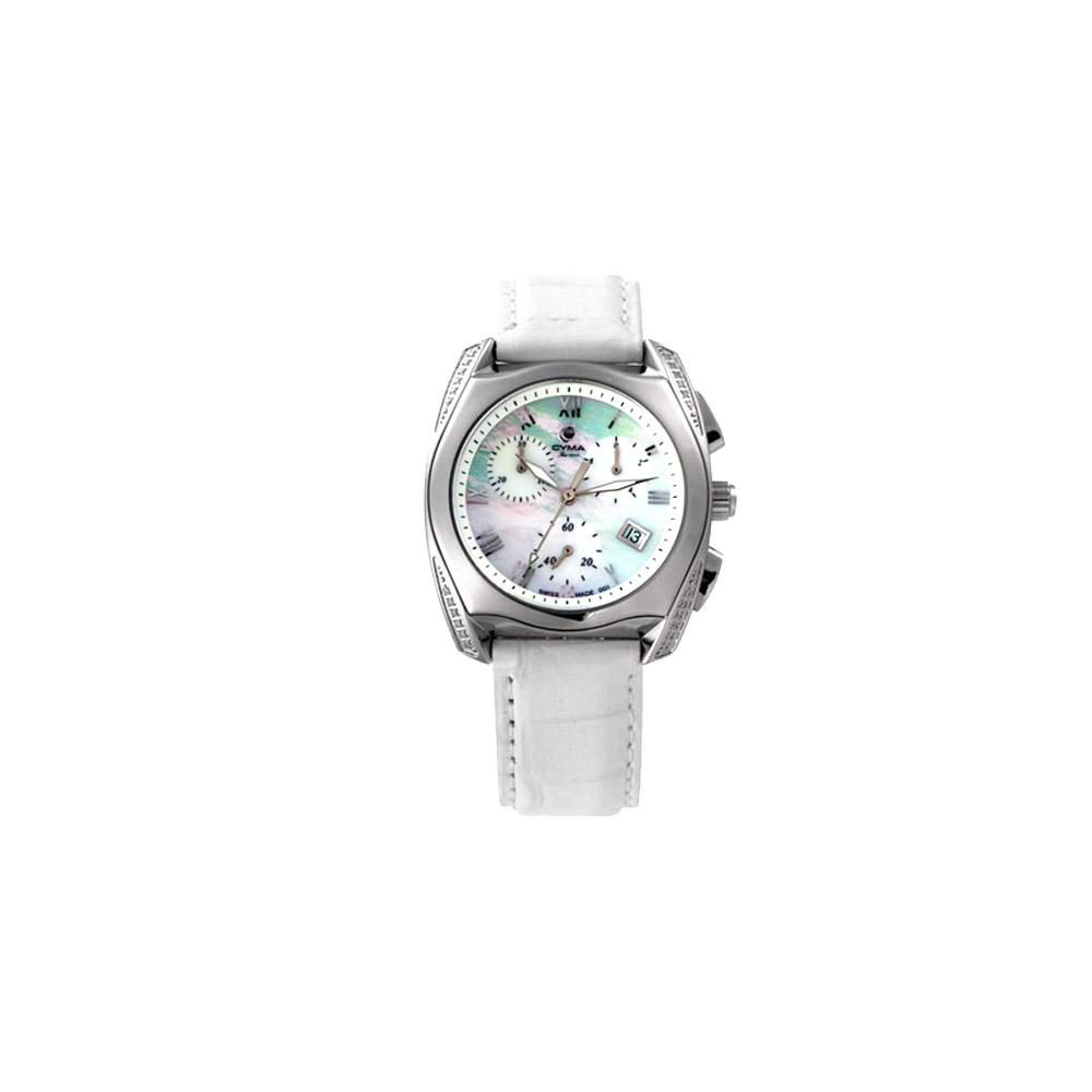 CYMA  貝殼美人時尚計時腕錶-白/35mm