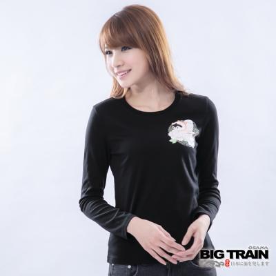 BIG TRAIN-女款 犬張子牡丹印花TEE-黑