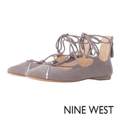 NINE-WEST-尖頭綁帶平底鞋-優雅灰