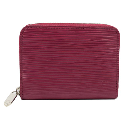 LV M60383 EPI 水波紋皮革信用卡拉鍊零錢包.紫紅