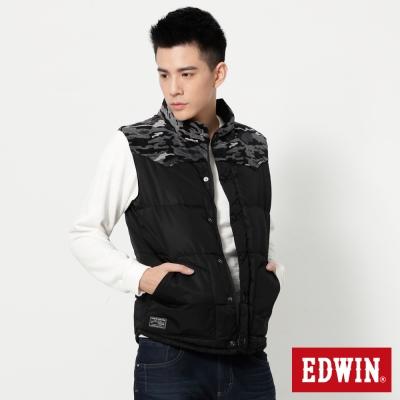 EDWIN-雙面穿迷彩羽絨背心-男-黑色