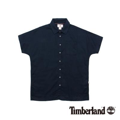 Timberland 女款深藍寬鬆棉麻混紡短袖襯衫