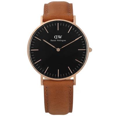 DW Daniel Wellington 真皮手錶-黑x玫瑰金框x淺咖啡/36mm