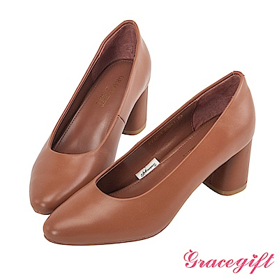 Grace gift-全真皮小方頭優雅素面跟鞋 棕