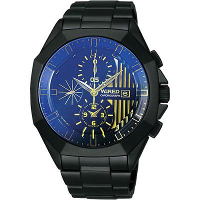 WIRED 宇宙探險家計時腕錶(AGAV751)-藍/金時標/IP黑