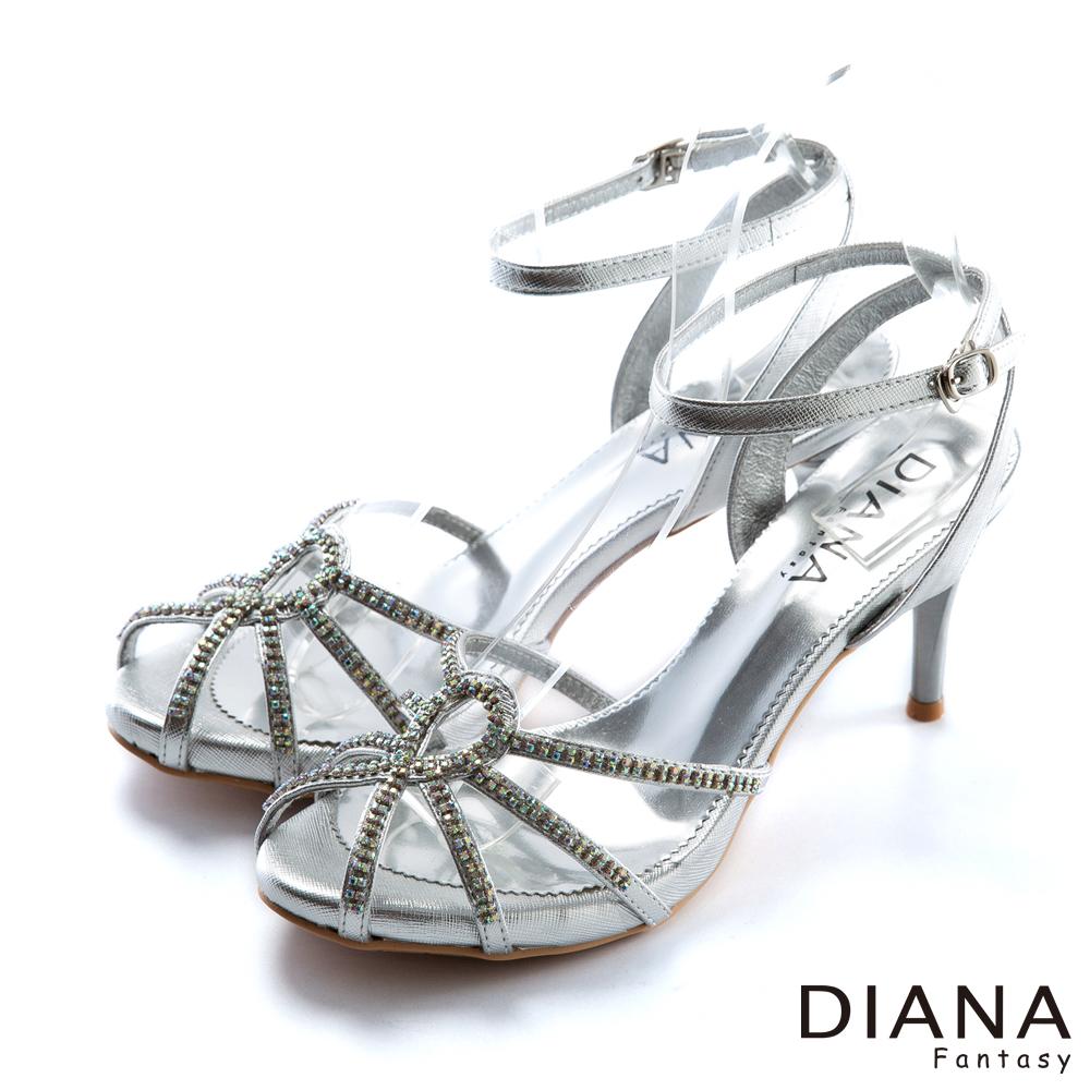 DIANA 熱情森巴--線條水鑽八爪高跟鞋-銀