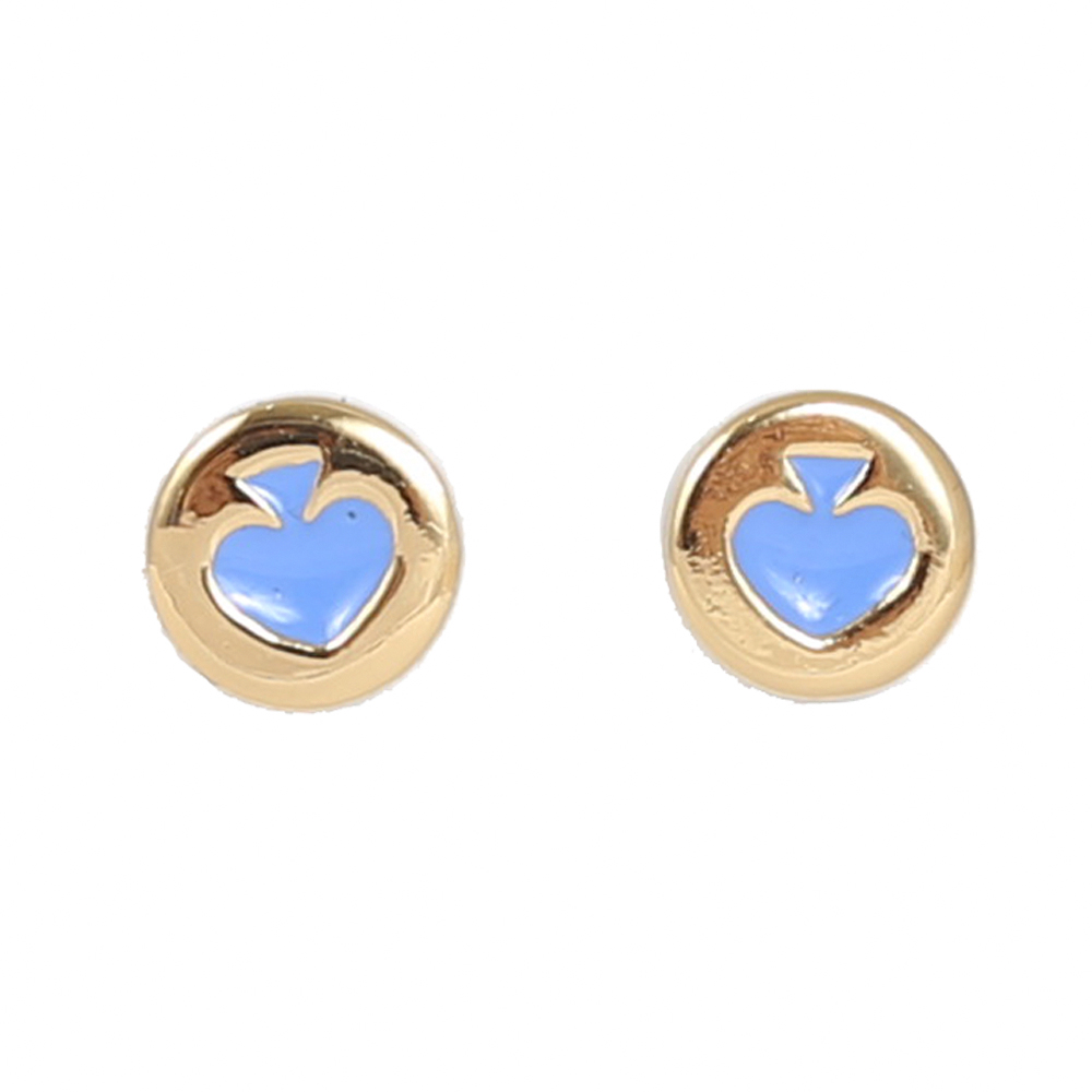 KATE SPADE  黑桃LOGO耳針式耳環(金藍)