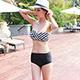 泳衣 交錯條紋 兩件式泳衣(白黑M~XL)AngelHoney天使霓裳 product thumbnail 1