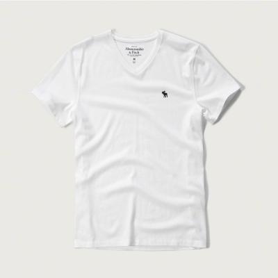 A&F 經典電繡麋鹿V領短袖T恤-白色 AF Abercrombie