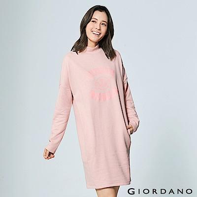 GIORDANO 女裝主題俏皮印花長袖長版連身洋裝 - 02 俏麗粉