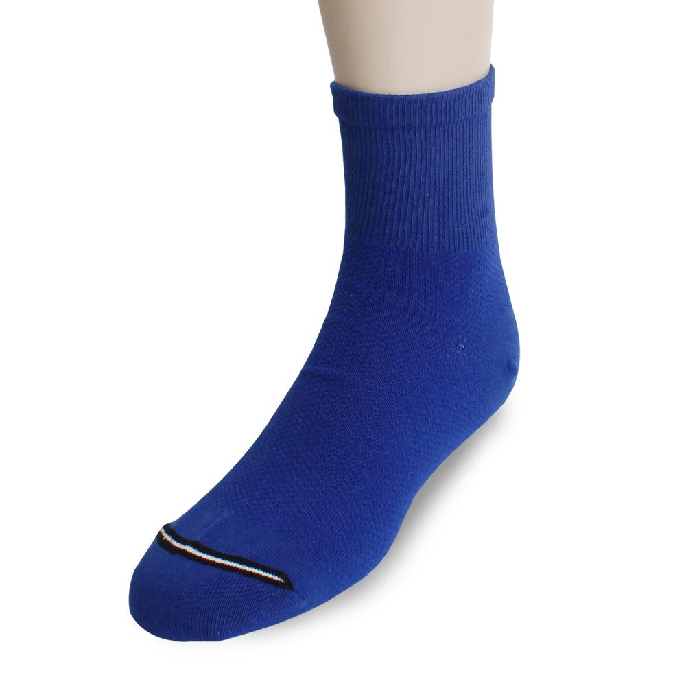 裕發 90°直角不滑落透氣網孔1/2休閒襪(20~24cm)3入-寶藍