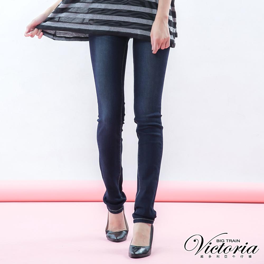Victoria 低腰提臀繡花窄管褲-女-深藍
