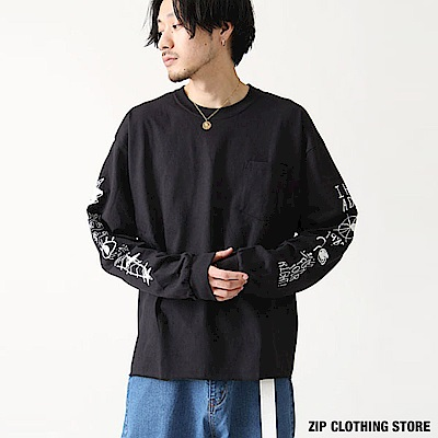 塗鴉印花長袖素T(3色) ZIP日本男裝