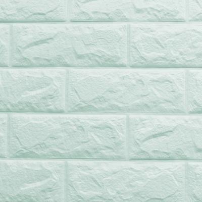 3D立體泡棉磚紋壁貼1片(水藍)