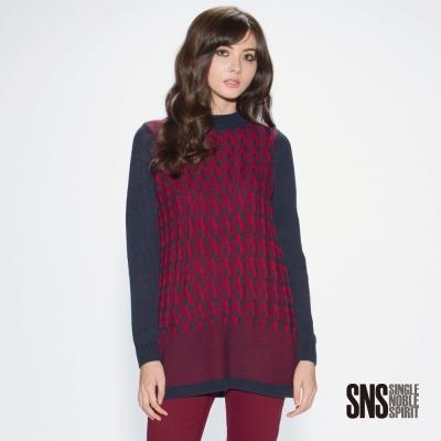 SNS-歐風民族感立體編織麻花長版針織衫-2色