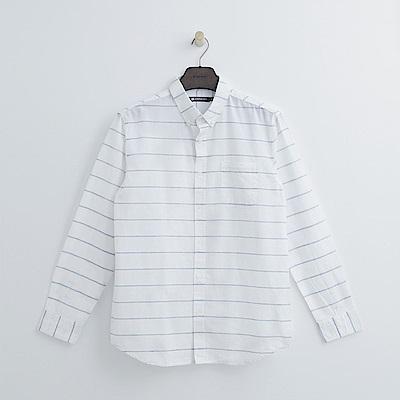Hang Ten - 男裝 - 學院感格紋襯衫-白色