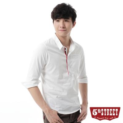 5th STREET 襯衫 文青質感開襟七分袖襯衫-男-白色
