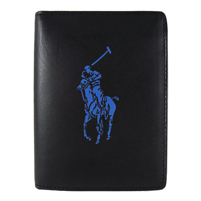 Ralph Lauren 藍色小馬6卡直立式短夾(黑)