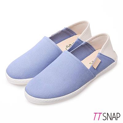 TTSNAP懶人鞋-MIT兩穿2WAY帆布真皮休閒鞋 藍