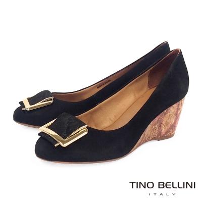 Tino Bellini 巴西進口蛇紋方釦舒足楔型鞋_黑
