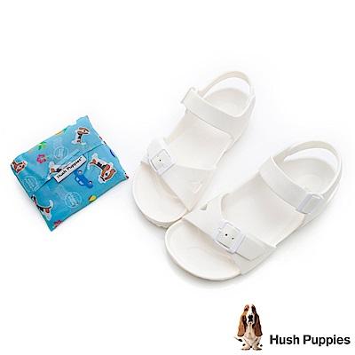 Hush Puppies 巴吉度輕量休閒繫帶涼鞋-白