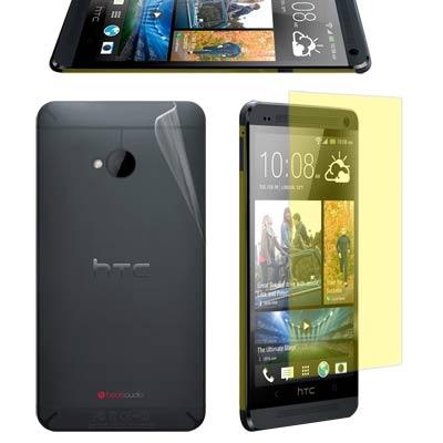 NEW HTC ONE M7 亮面螢幕貼+機身(前+後)保護膜(含邊條)-贈鏡頭...