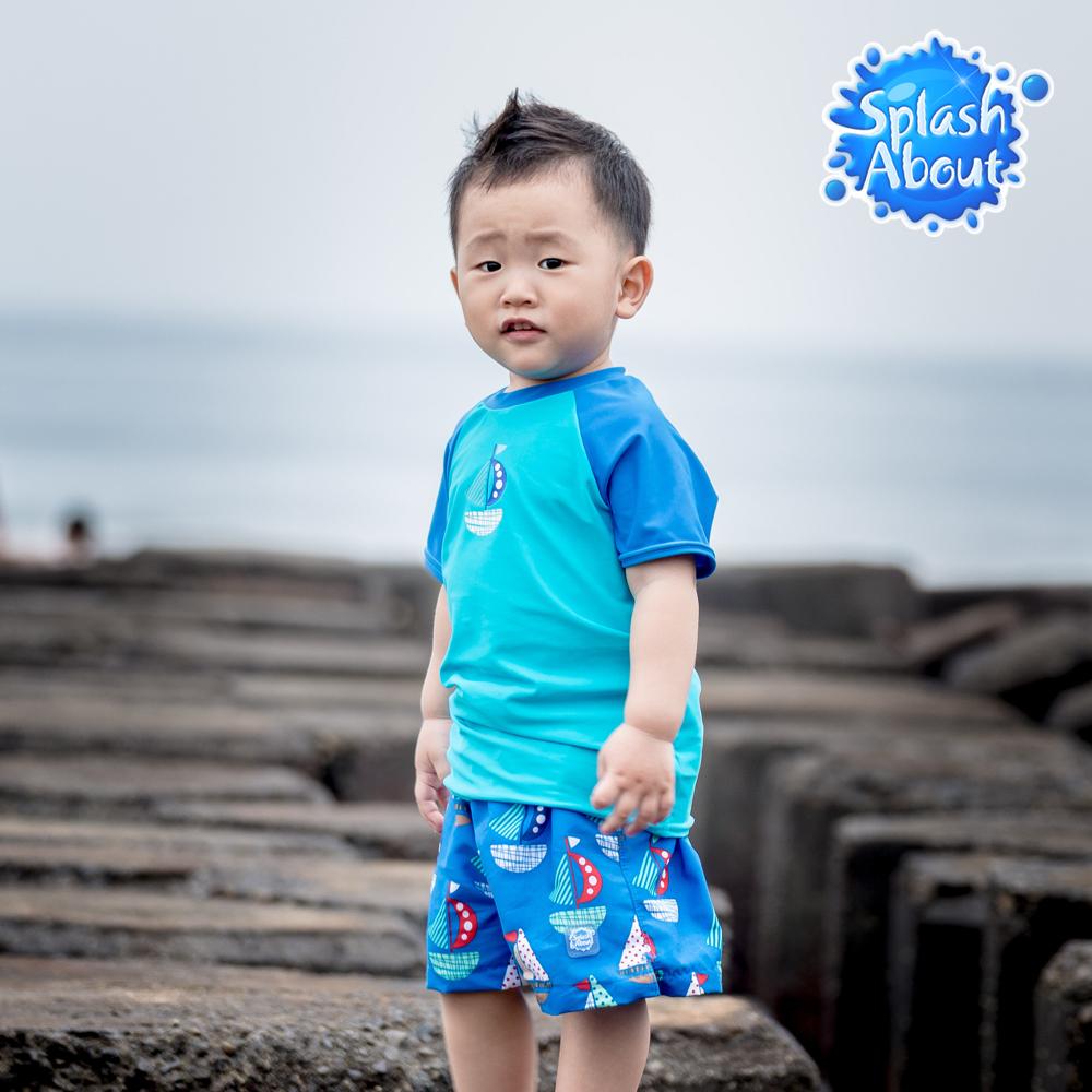 Splash About 潑寶 兒童抗UV海灘褲 - 普普風帆船 4-6歲