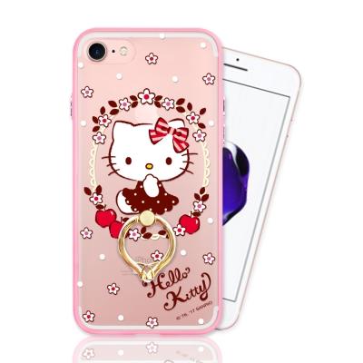 iPhone 7 正版授權 Hello Kitty凱蒂貓指環扣支架手機殼-花圈款