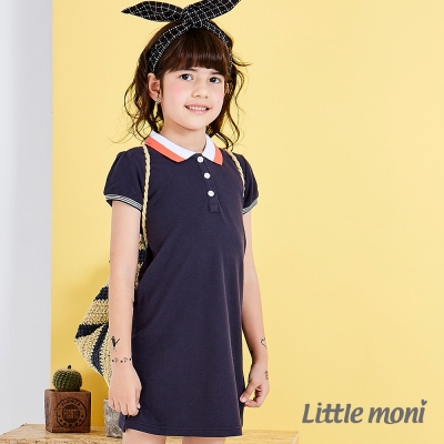 Little moni 甜美俏麗女孩POLO洋裝 深藍