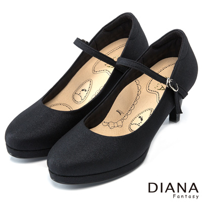 DIANA 漫步雲端布朗尼H款--輕彈舒適OL制鞋-黑