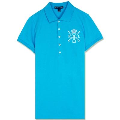 Ralph Lauren 中皇冠標棉質素面女POLO衫(天藍)