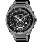 CITIZEN 光動能炫黑計時腕錶(AT2155-58E)-IP黑/44mm