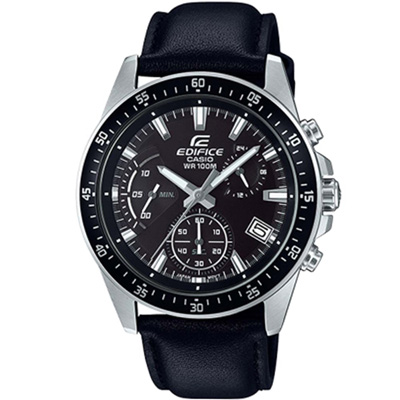 EDIFICE 大氣風格時尚腕錶(EFV-540L-1A)黑x皮/43.8mm